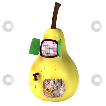 3d light yellow pear house isolated stock photo, 3d light yellow pear house isolated on white by vetdoctor