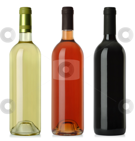 Wine bottles blank no labels stock photo, Three merged photographs of white, rose, and red wine bottles.  Separate clipping paths for each bottle included. by © Ron Sumners