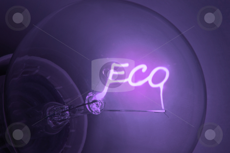 "Ecological energy. stock photo, Close up on illuminated purple light bulb filament spelling the word ""Eco"". by Samantha Craddock"