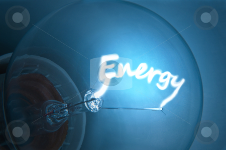 "Electrical energy. stock photo, Close up on illuminated blue light bulb filament which spells the word ""Energy"". by Samantha Craddock"