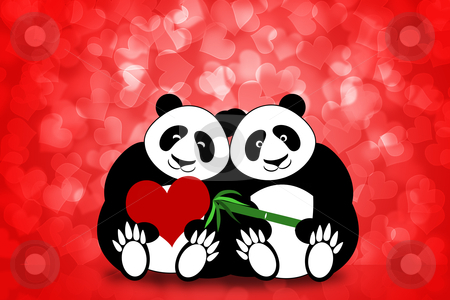 Happy Valentines Day Panda Couple Hearts Bokeh stock photo, Happy Valentines Day Panda Bear Couple Hearts Bokeh Background Illustration by Thye Gn