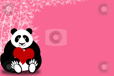 Happy Valentines Day Panda Bear Holding Heart stock photo, Happy Valentines Day Panda Bear Holding Heart with Bamboo Illustration by Thye Gn