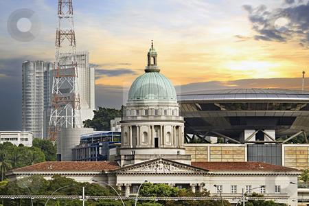 Singapore Parliament Building and Supreme Law Court stock photo, Historic Singapore Parliament Building and New Supreme Law Court by Thye Gn