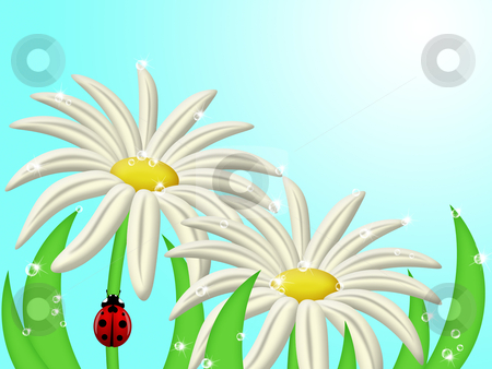 Ladybug Climbing Up Daisy Flower Stem stock photo, Red Ladybug Climbing Up Daisy Flower Stem Illustration by Thye Gn