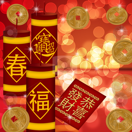 Chinese New Year Firecrackers with Gold Coins stock photo, Chinese New Year Firecrackers with Gold Coins Bokeh Illustration by Thye Gn