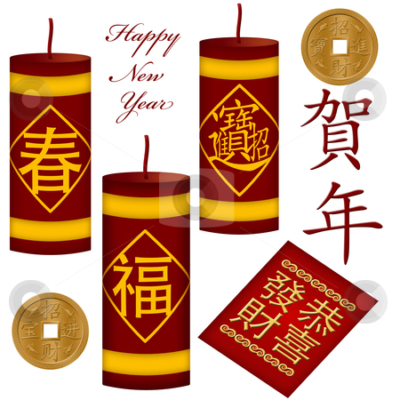 Chinese New Year Firecrackers with Red Packet stock photo, Chinese New Year Firecrackers with Red Money Packet Illustration by Thye Gn