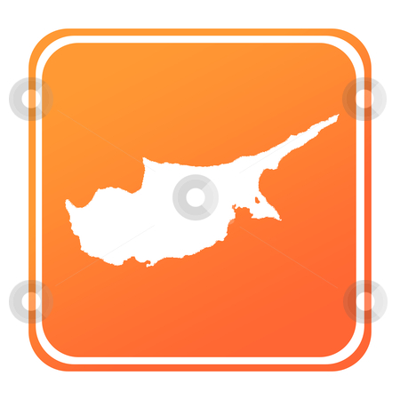 Cyprus map button stock photo, Illustration of Cyprus map button; isolated on white background. by Martin Crowdy