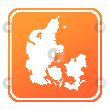 Denmark map button stock photo, Illustration of Denmark map button; isolated on white background. by Martin Crowdy