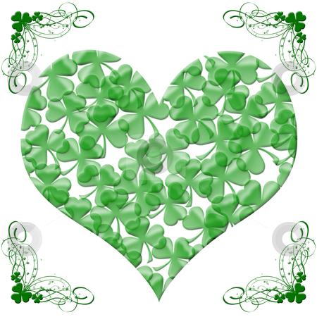 Happy St Patricks Day Heart of Shamrock Leaves stock photo, Happy St Patricks Day Heart of Shamrock Leaves Illustration by Thye Gn