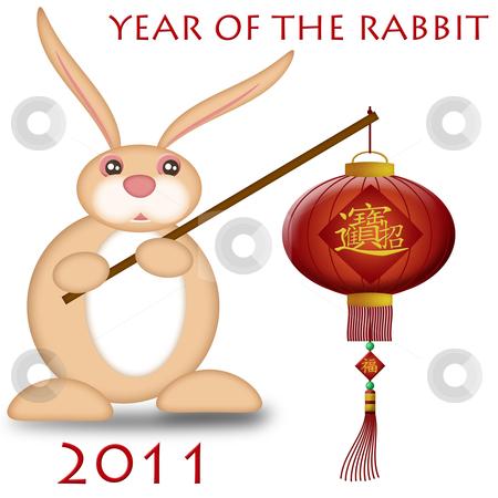 Happy Chinese New Year 2011 Rabbit Holding Lantern stock photo, Happy Chinese New Year 2011 Rabbit Holding Lantern Bokeh Illustration by Thye Gn