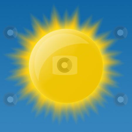 Bright glossy sun stock photo, Bright glossy sun on blue background by krasyuk