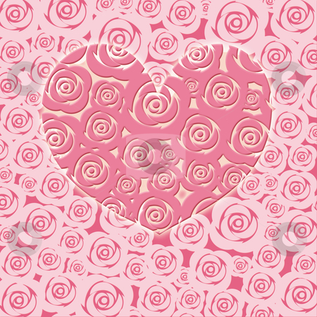 Happy Valentines Day Heart with Pink Roses stock photo, Happy Valentines Day Heart with Pink Roses Illustration by Thye Gn