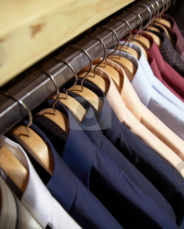 Clothes hanger man's shirts  stock photo, clothes hanger with man's shirts  by krasyuk