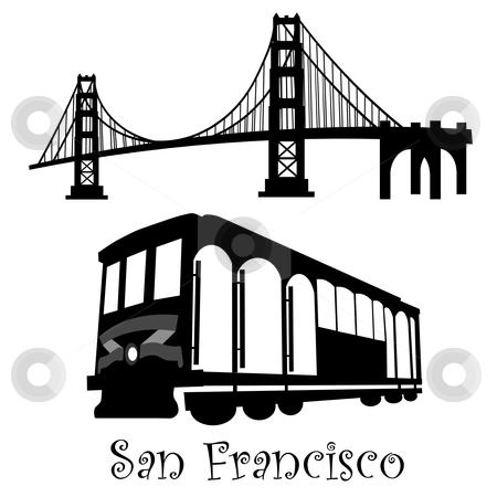 San Francisco Golden Gate Bridge and Cable Car Trolley stock photo, San Francisco Golden Gate Bridge and Cable Car Trolley Illustration Black and White by Thye Gn