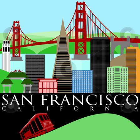 San Francisco Skyline with Golden Gate Bridge stock photo, San Francisco California Skyline with Golden Gate Bridge by the Bay Illustration by Thye Gn