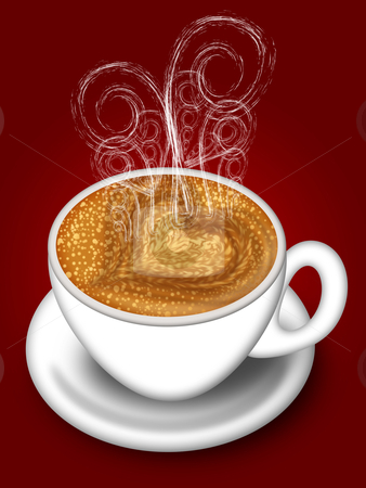 Cup of Latte Cappuccino Made with Love stock photo, Cup of Latte Cappuccino with Hot Steamy Hearts Illustration on Red by Thye Gn