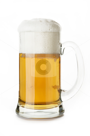 Mug of beer close-up in white background stock photo, mug of beer close-up in white background by krasyuk