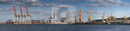Panorama view on the port with loading cargo ship  stock photo, Panorama view on the port with loading cargo ship  by krasyuk