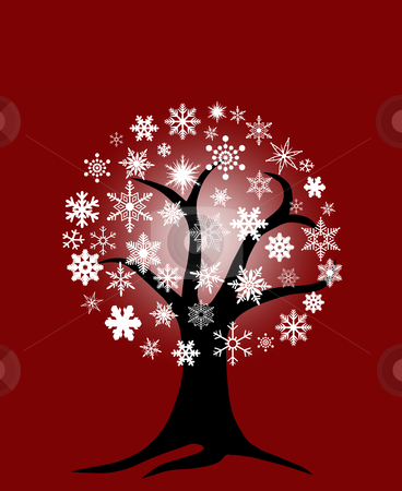 Winter Tree with Snowflakes stock photo, Winter Tree with Snowflakes for Christmas on Red Background by Thye Gn