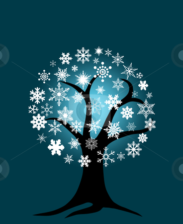 Winter Tree with Snowflakes stock photo, Winter Tree with Snowflakes for Christmas on Blue Background by Thye Gn