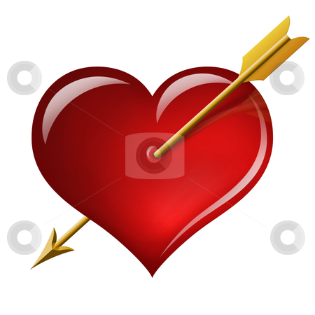 Red heart with an arrow of the Cupid stock photo, Red heart with an arrow of the Cupid isolated on white background by krasyuk