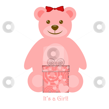 Pink Girl Teddy Bear with Gift stock photo, Pink Girl Teddy Bear with Present Illustration by Thye Gn