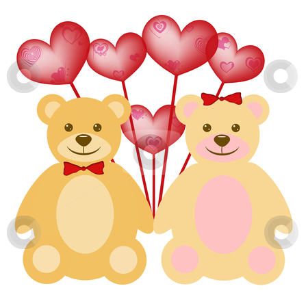 Valentine's Day Teddy Bear Couple with Red Balloons stock photo, Valentine's Day Teddy Bear Couple with Red Heart Shaped Balloons by Thye Gn