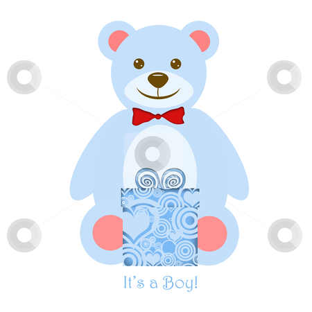 It's a Boy Blue Teddy Bear with Gift stock photo, It's a Boy Blue Teddy Bear with Present Illustration by Thye Gn