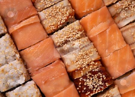 Ssushi stock photo, Set of Japanese sushi background by krasyuk