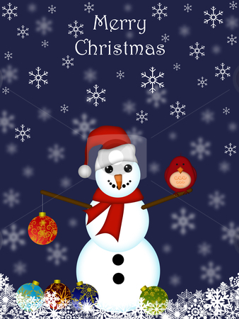 Christmas Snowman Hanging Ornament and Red Cardinal Bird stock photo, Christmas Snowman Hanging Ornament and Cardinal Bird with Blue Background by Thye Gn