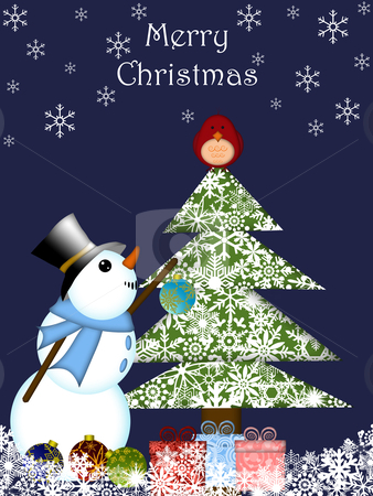 Christmas Snowman Hanging Ornament on Tree with Red Cardinal Bir stock photo, Christmas Snowman Hanging Ornament on Tree with Blue Background by Thye Gn