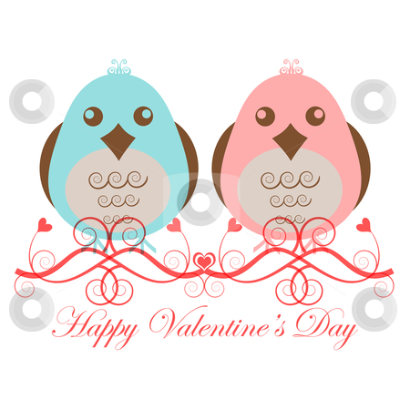 Valentines Day Two Love Birds stock photo, Valentines Day Two Love Birds Pink Blue on White Background by Thye Gn