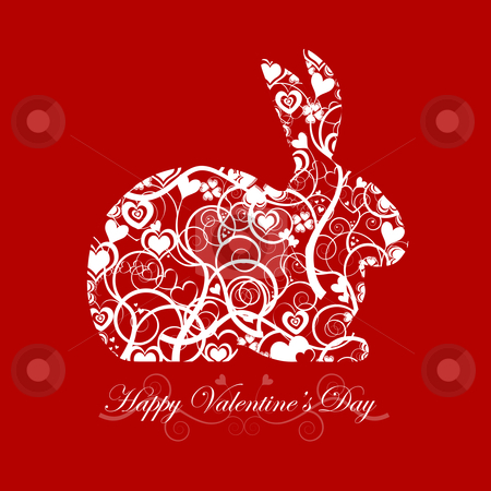 Happy Valentines Day Bunny Rabbit Red Background stock photo, Happy Valentines Day Bunny Rabbit with Hearts and Swirls Red Background by Thye Gn