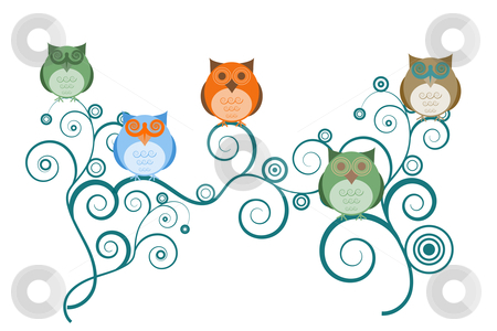 Owls on Tree Branches stock photo, Colorful Owls on Tree Branches White Background Drawings by Thye Gn