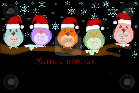 Five Birds with Santa Hat on Tree Branches stock photo, Five Birds with Santas Hat on Tree Branches White Background Drawings by Thye Gn