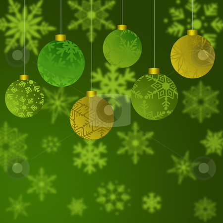 Hanging Christmas Ornaments with Snowflakes Background stock photo, Hanging Christmas Ornaments with Snowflakes with Green Background by Thye Gn