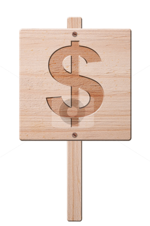 Wooden dollar sign, isolated, clipping path. stock photo, Dollar symbol carved in a wooden sign, isolated, clipping path. by Pablo Caridad