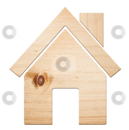 Wooden house, isolated. stock photo, House icon  made out of wood, isolated, clipping path. by Pablo Caridad