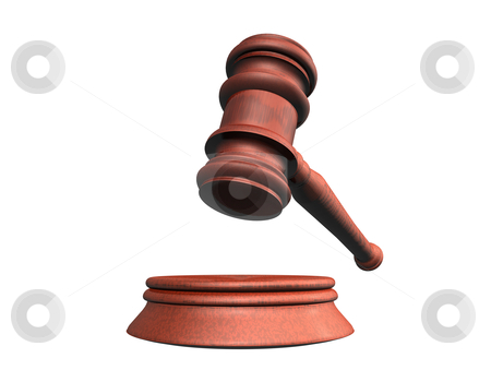 Judge 3d stock photo, 3d illustration looks judge hammer for a white background. by Alexander Limbach