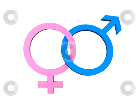 Masculine Feminine Symbols stock photo, The symbols of the sexes isolated on white. by Alexander Limbach