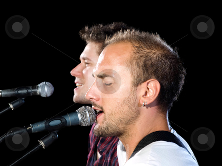 "Musical band ""Prezzident"" Profiles of singers stock photo, Two members of the musical band ""Prezzident"" from Croatia. by Sinisa Botas"