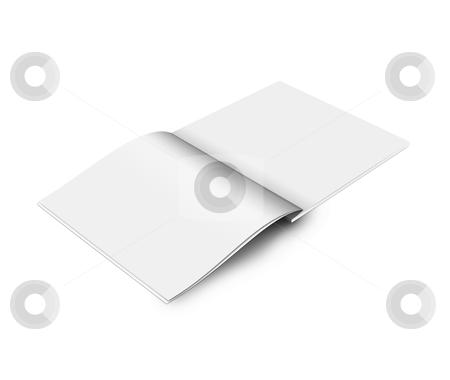 Blank magazine stock photo, Blank open book on white background by imaginative