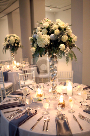 Wedding Centerpiece And Reception Stock Photo