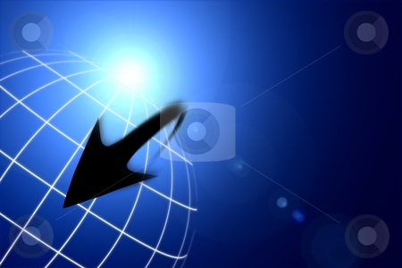 Arrow World stock photo, Globe with an encircling arrow in a blue background. by eldeiv