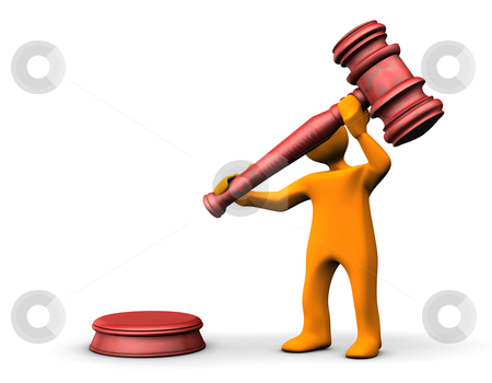 Auctioneer stock photo, Orange cartoon with a judge hammer on the white background. by Alexander Limbach