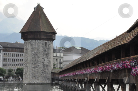 Wooden Bridge in Lucerne stock photo, Wooden Bridge in Lucerne, Switzerland by Ritu Jethani