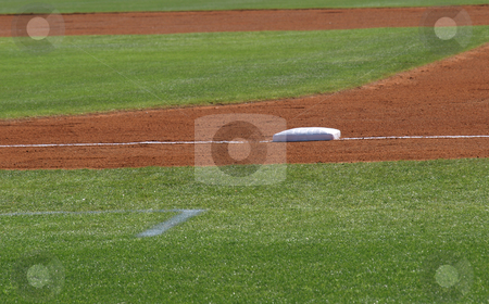 First base stock photo, First base view shown closeup on a baseball diamond by Tim Markley