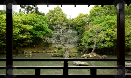 Garden stock photo, Outlook into a japanese-style zen garden with lake and trees in New Zealand by josefstuefer