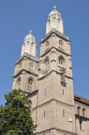 Grossmunster Church in Zurich stock photo, Grossmunster Church in Zurich, Switzerland by Ritu Jethani