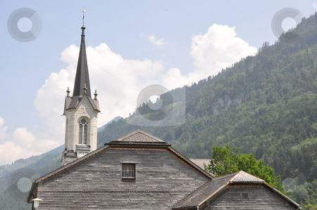 Church in Switzerland stock photo, Church in the Alps in Switzerland by Ritu Jethani